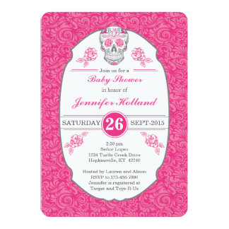 Fancy Damask Skull Baby Shower Invitation in Pink