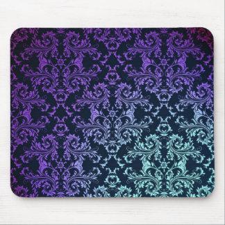 FAncy Damask Teal Blue Purple Black Mouse Pad