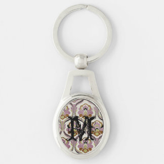 Fancy Damasks Pink Green Pattern Background Silver-Colored Oval Metal Keychain
