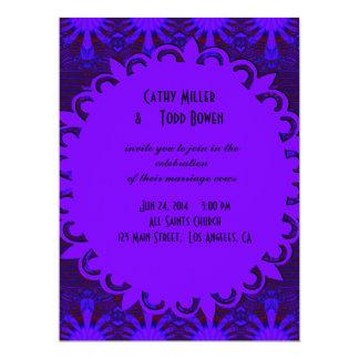 Fancy Dark Purple Blue Wedding Card