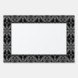 Fancy Decorative Pattern in Black and White. Lawn Sign