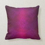 Fancy Deep Pink Purple Damask Pattern Throw Pillows