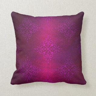 Fancy Deep Pink Purple Damask Pattern Throw Pillow at Zazzle