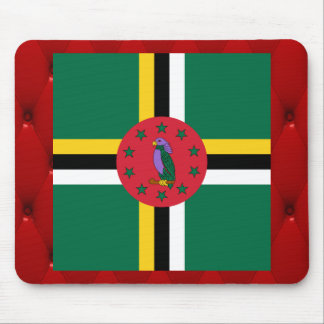 Fancy Dominica Flag on red velvet background Mouse Pad
