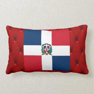Fancy Dominican Republic Flag on red velvet backgr Lumbar Pillow