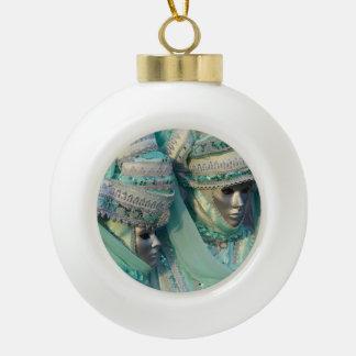 Fancy Dress Couple Costumes Ceramic Ball Christmas Ornament