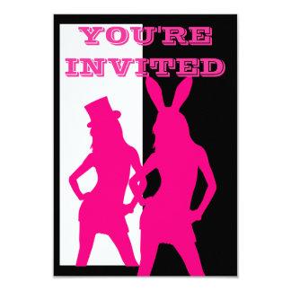 Fancy dress girls in pink 3.5x5 paper invitation card