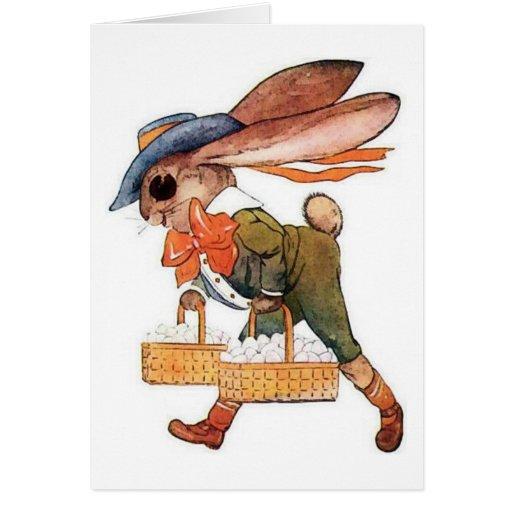 Fancy Dressed Lop Ear Easter Bunny Basket of Eggs Greeting Card