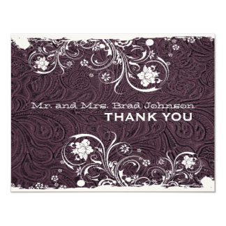 Fancy Eggplant Purple Rustic Leather Thank You Card