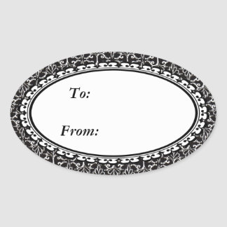 Fancy Elegant Black White Damask Design Oval Sticker