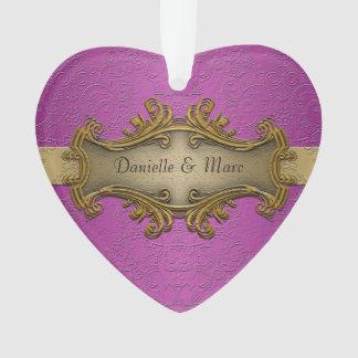 Fancy Elegant Gold and Purple Wedding Ornament