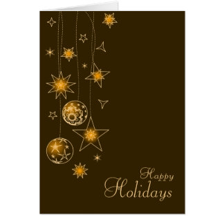 Fancy Elegant Gold Yellow Christmas Decorations Greeting Card