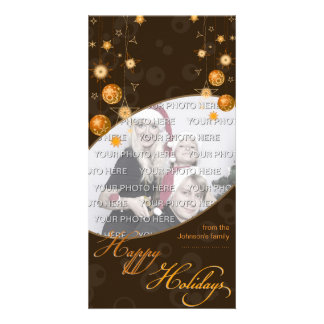 Fancy Elegant Gold Yellow Christmas Decorations on Photo Card