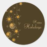 Fancy Elegant Gold Yellow Christmas Decorations Classic Round Sticker
