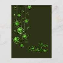 Fancy Elegant Green Christmas Decorations Holiday Postcard
