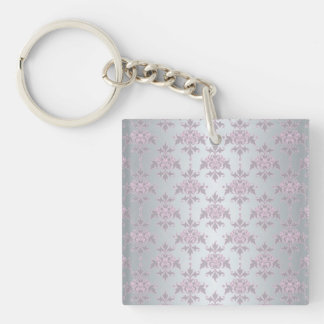 Fancy Elegant Pink and Silvery White Damask Keychain