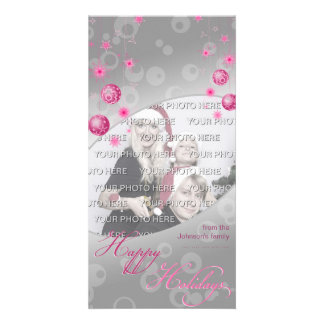 Fancy Elegant Pink Christmas Decorations Card