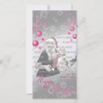 Fancy Elegant Pink Christmas Decorations Holiday Card