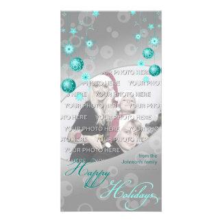 Fancy Elegant Turquoise Christmas Decorations Card