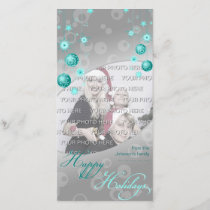 Fancy Elegant Turquoise Christmas Decorations Holiday Card