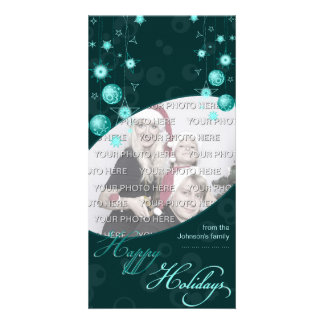 Fancy Elegant Turquoise Christmas Decorations on D Card