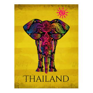 Fancy Elephant Design Bold Bright Color | Thailand Postcard
