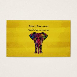 Fancy Elephant Design Bold Bright Colors Business Card