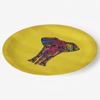 Fancy Elephant Illustration - Decorative Pattern Paper Plate