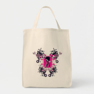 fancy emo girl kid with crossbone skull swirls grocery tote bag