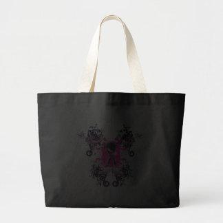 fancy emo girl kid with crossbone skull swirls jumbo tote bag