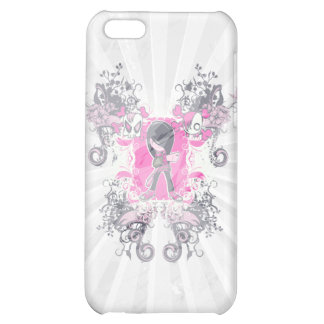fancy emo girl kid with crossbone skull swirls iPhone 5C cases