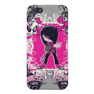 fancy emo girl kid with crossbone skull swirls iPhone 5 case