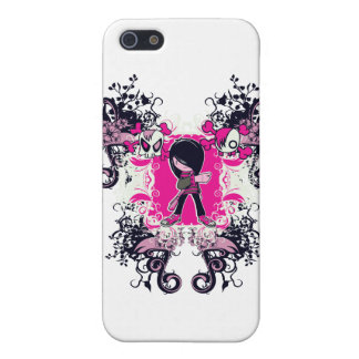 fancy emo girl kid with crossbone skull swirls covers for iPhone 5