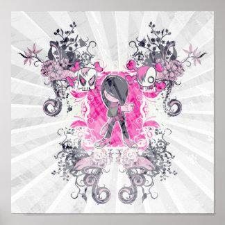fancy emo girl kid with crossbone skull swirls posters