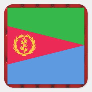 Fancy Eritrea Flag on red velvet background Square Sticker