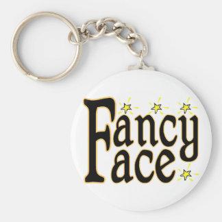 Fancy Face Basic Round Button Keychain