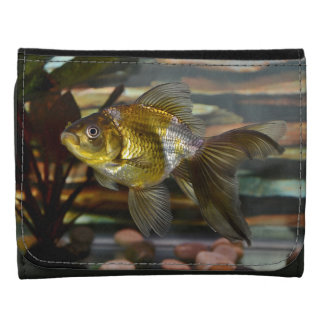 Fancy Fantail Goldfish Leather Wallets