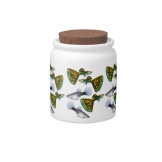 Fancy Fantail Guppies Candy Jar
