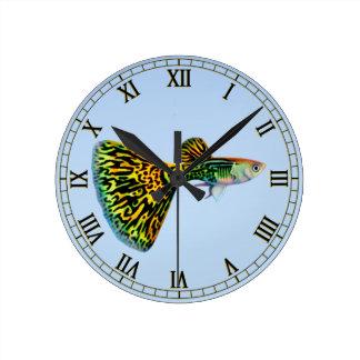 Fancy Fantail Snakeskin Guppy Fish  Clock