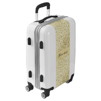 Fancy Faux Gold Glitter Personalized Luggage