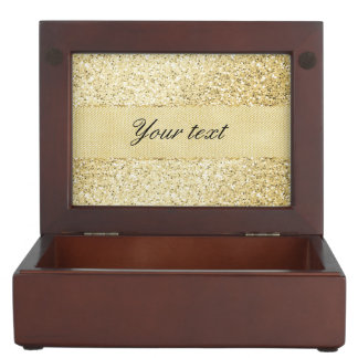 Fancy Faux Gold Glitter Personalized Memory Box