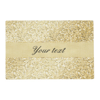 Fancy Faux Gold Glitter Personalized Placemat