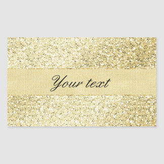 Fancy Faux Gold Glitter Personalized Rectangular Sticker