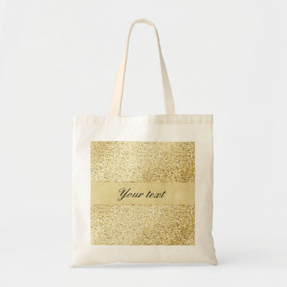 Fancy Faux Gold Glitter Personalized Tote Bag