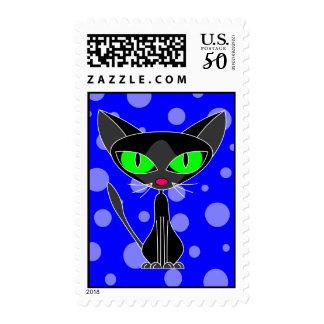 Fancy Feline Black Cat Postage Stamp