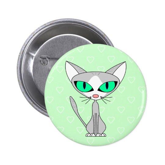 Fancy Feline - Grey and White Pinback Button
