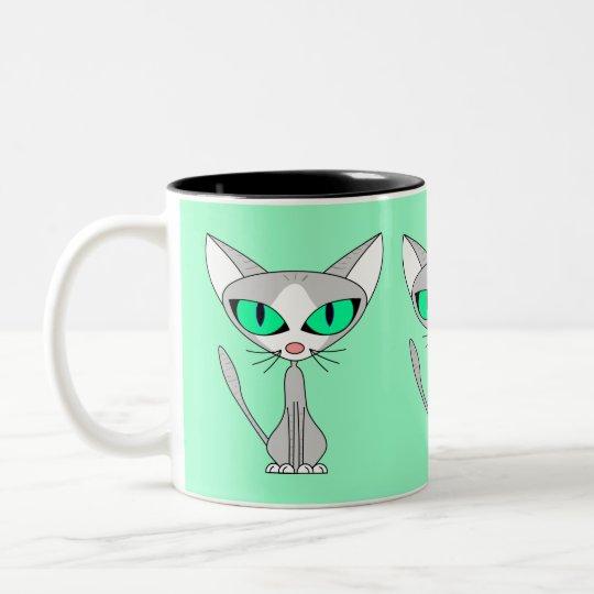 Fancy Feline - Grey and White Two-Tone Coffee Mug