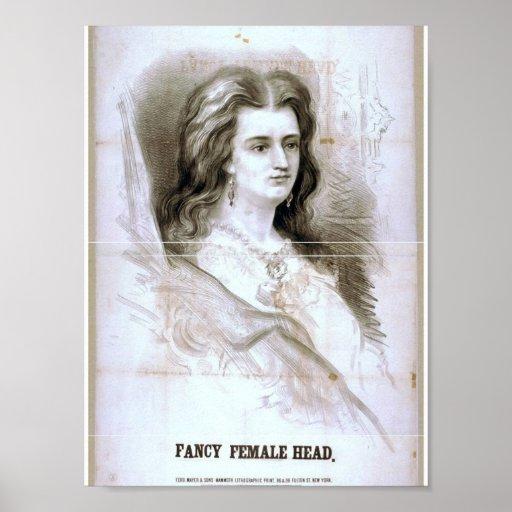 Fancy Female Head Retro Theater Print