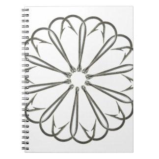 Fancy Fishing Hooks Flower Design Notebook
