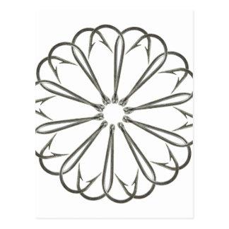Fancy Fishing Hooks Flower Design Postcard